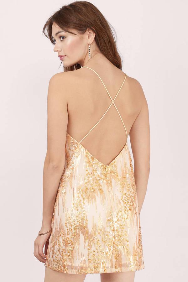 d9e3c55e8b Gold Dress - Sequin Dress - Metallic Gold Dress - Shift Dress -  12 ...