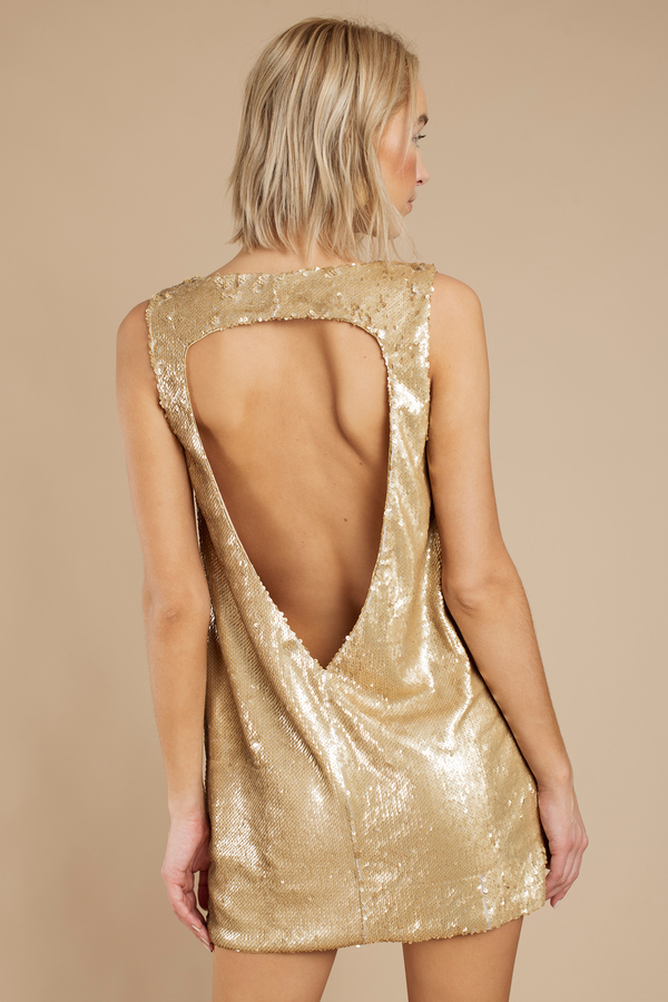 Cheap Gold Dress - Sequin Dress - Metallic Gold Dress - Shift ...