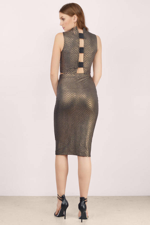 Gold Skirt - High Waisted Skirt - Printed Midi Skirt - $11.00