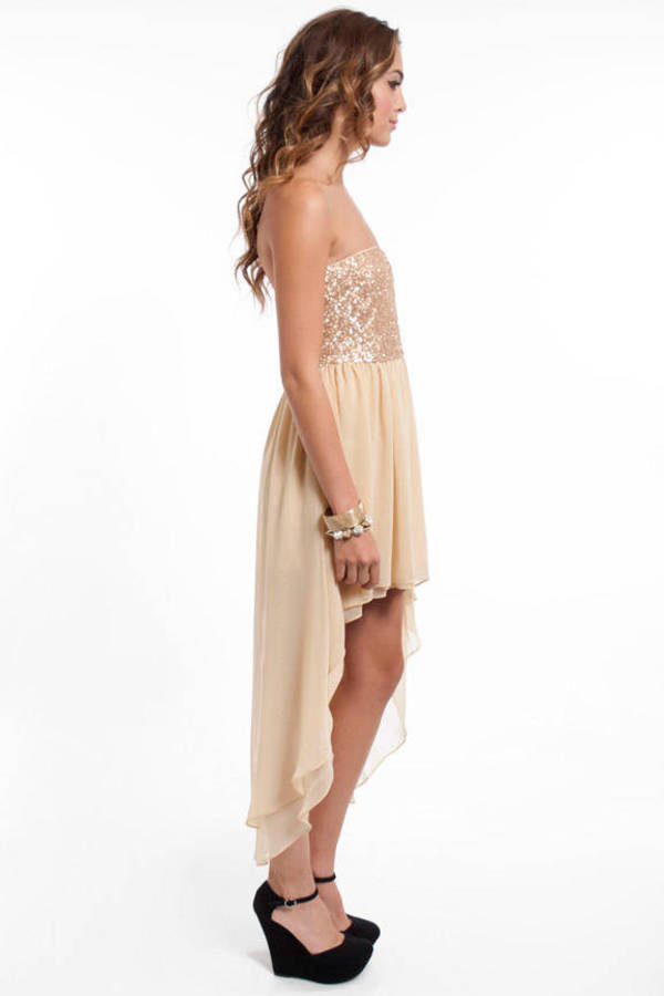 Sari Sequined Hi-Low Dress