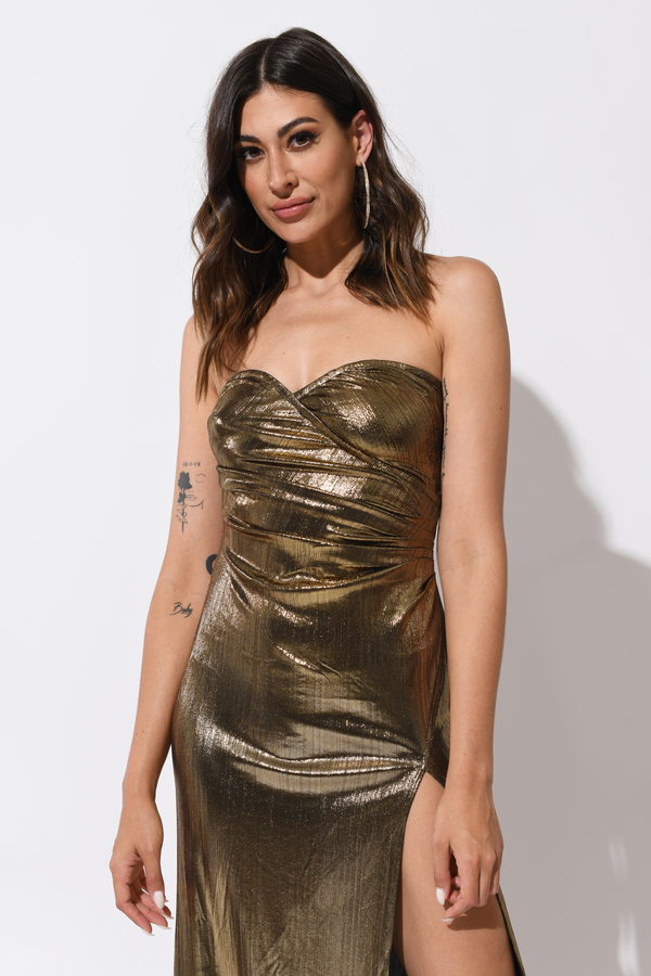 So Long Gold Side Slit Maxi Dress - $54 | Tobi US