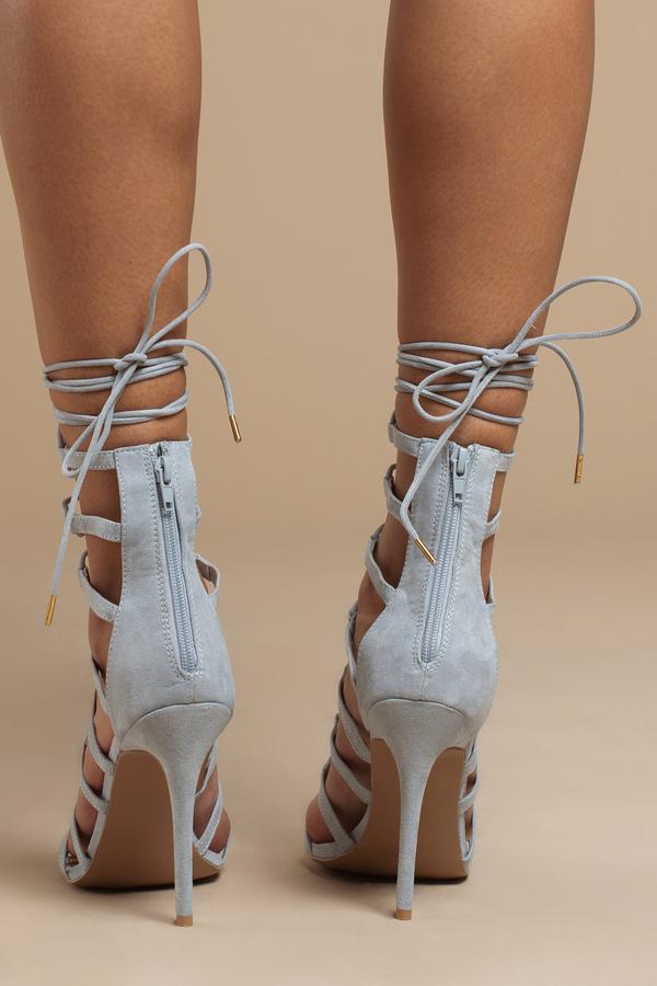 Cute Grey Heels - Lace Up Heels - Grey Heels - $78.00
