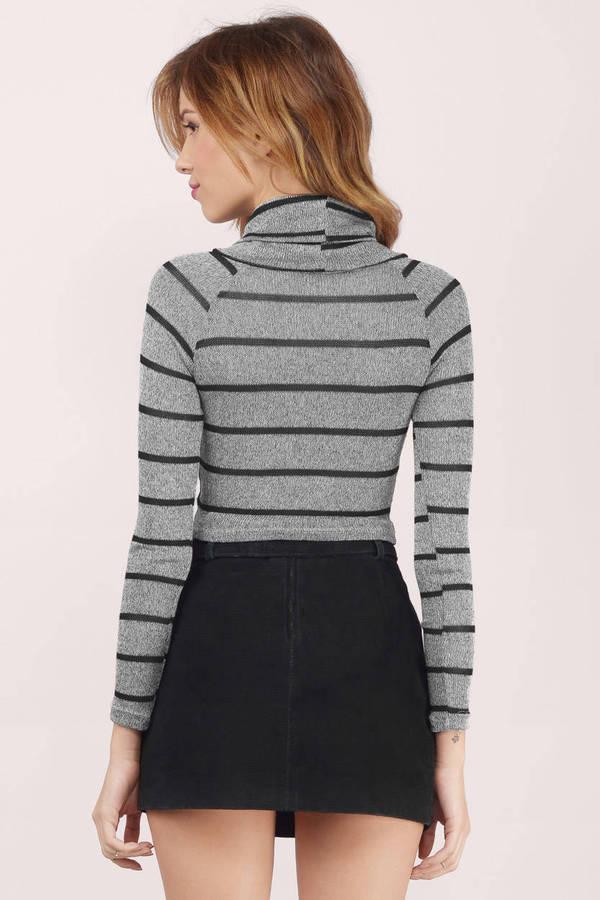 Grey Top Cowl Neck Top Grey And Black Sweater 9 Tobi Us