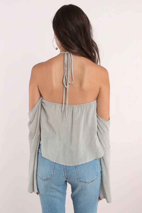 f612e4b385812a Cute Grey Top - Back Tie - Cold Shoulder - Grey Top - AU  16