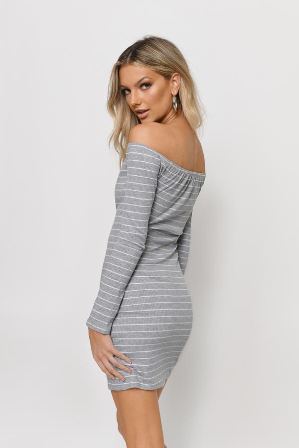 561a446d236d6 Grey Sweater Dress - Long Sleeve Striped Dresses - Bodycon Dress ...