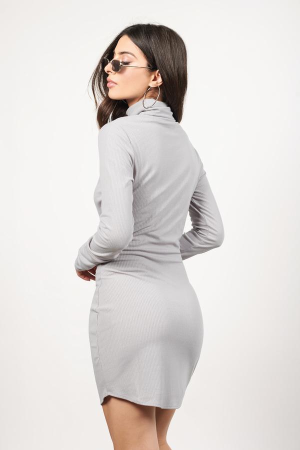6baa7a34a0e8 Cute Grey Bodycon Dress - Turtleneck Dress - Bodycon Dress - € 10 ...