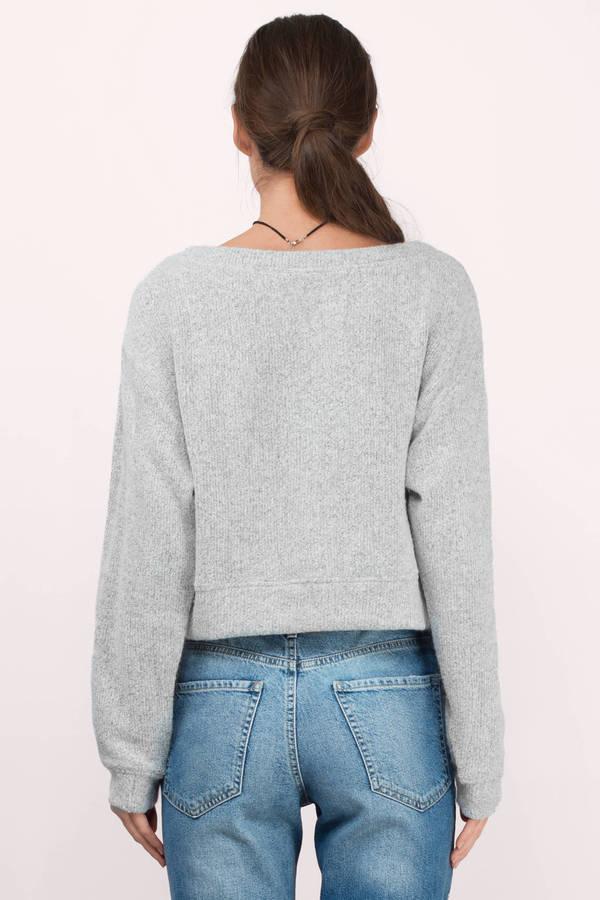 Cute Grey Sweater - Long Sleeve Sweater - $30 | Tobi US