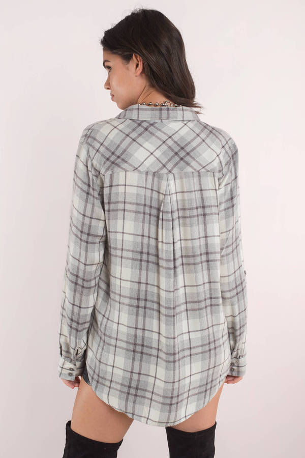 Thread & Supply Nicki Grey Multi Plaid Button Down Shirt - $48 | Tobi