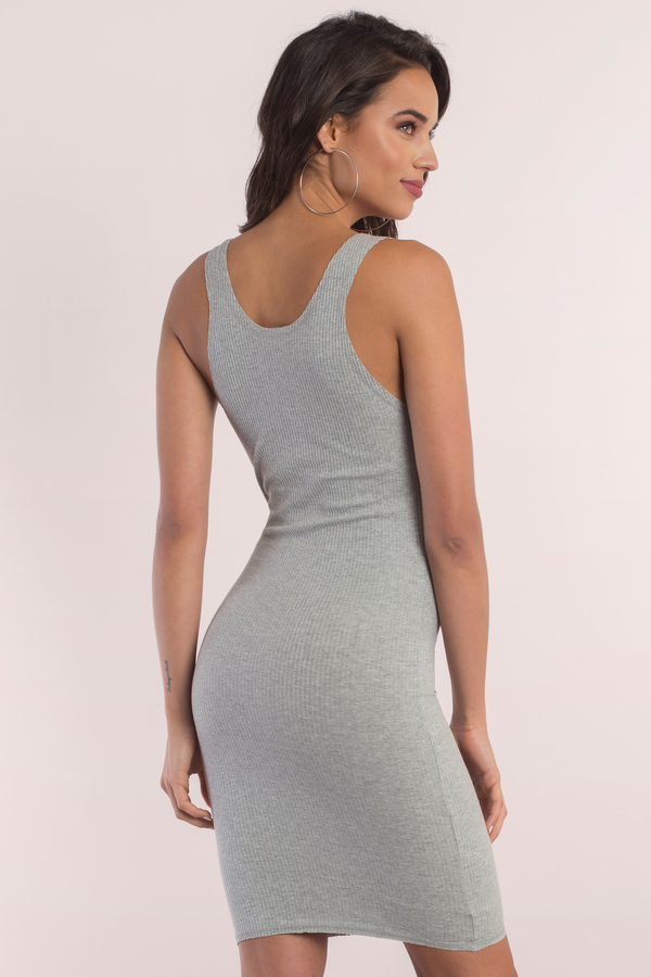6b12dabd9b1d9 Cute Grey Bodycon Dress - Sleeveless Dress - Bodycon Dress -  10 ...