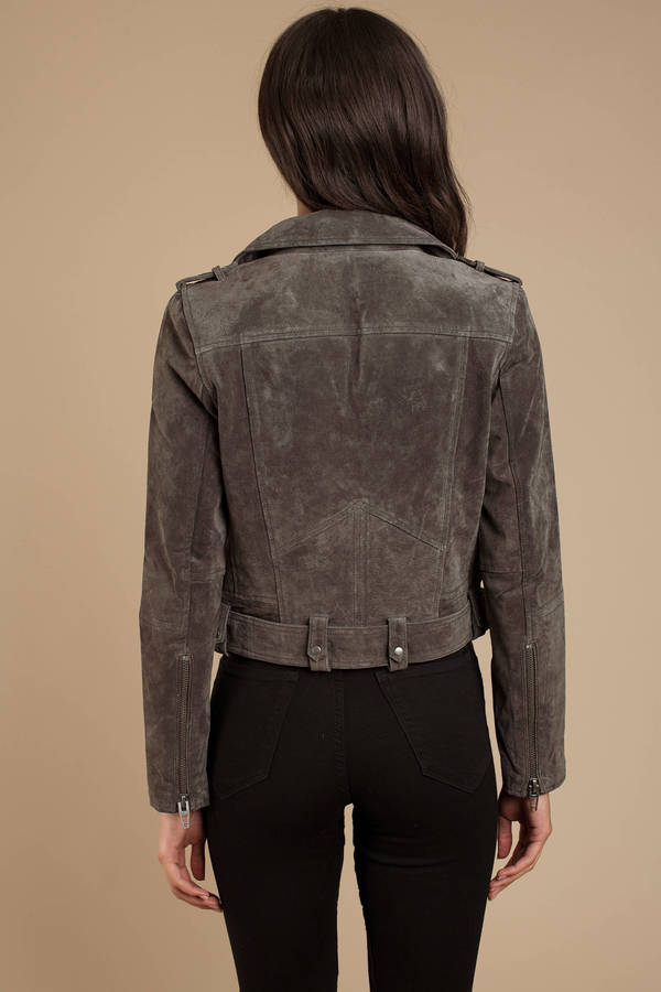 ddaa756664 Grey Nyc Jacket - Faux Suede Biker Jacket - Grey Moto Jacket - $198 ...