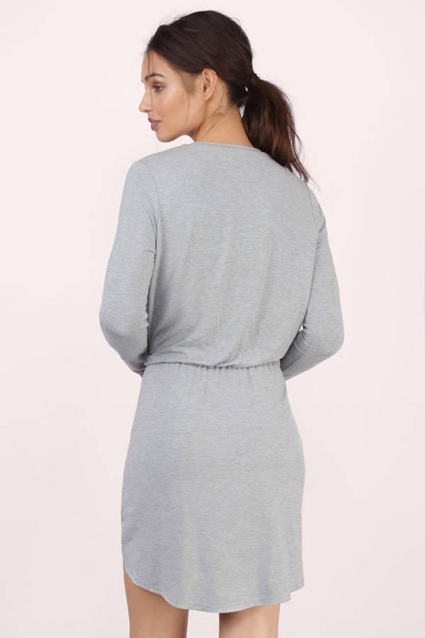 Grey Long Sleeve Dress