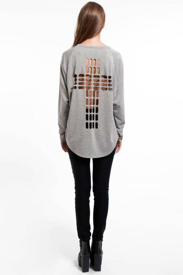Cross Cutout Sweater
