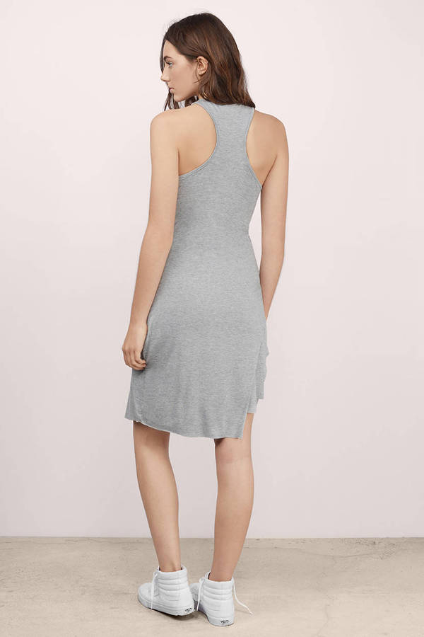 Blue Bodycon Dress - Asymmetrical Bodycon