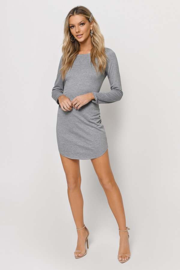 69e733b96f0a Sexy Heather Grey Bodycon Dress - Backless Dress - Bodycon Dress ...