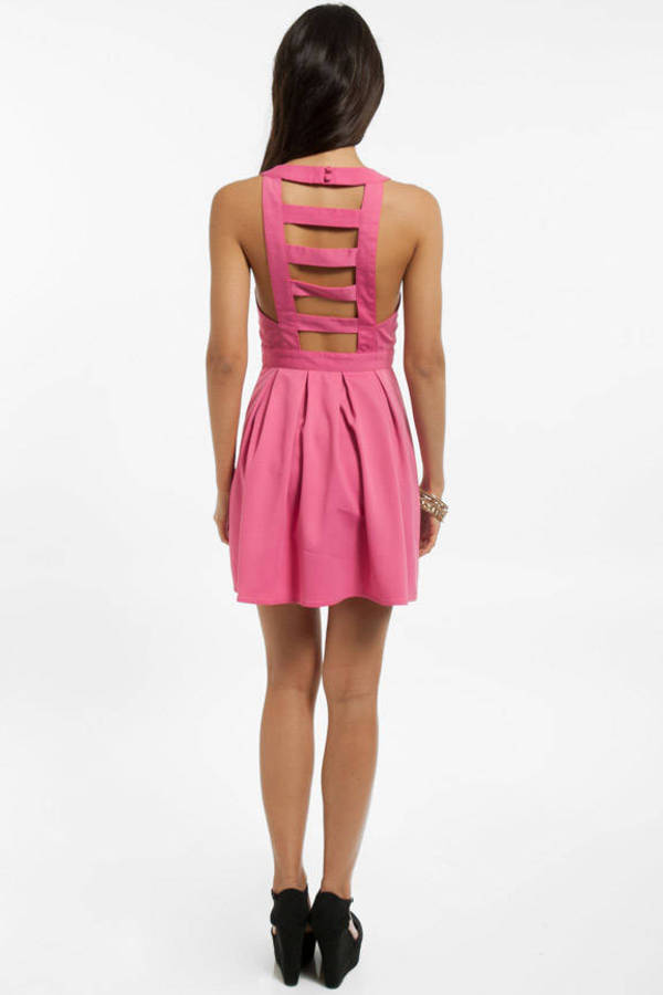 Ladder Cutout Pleated Dress