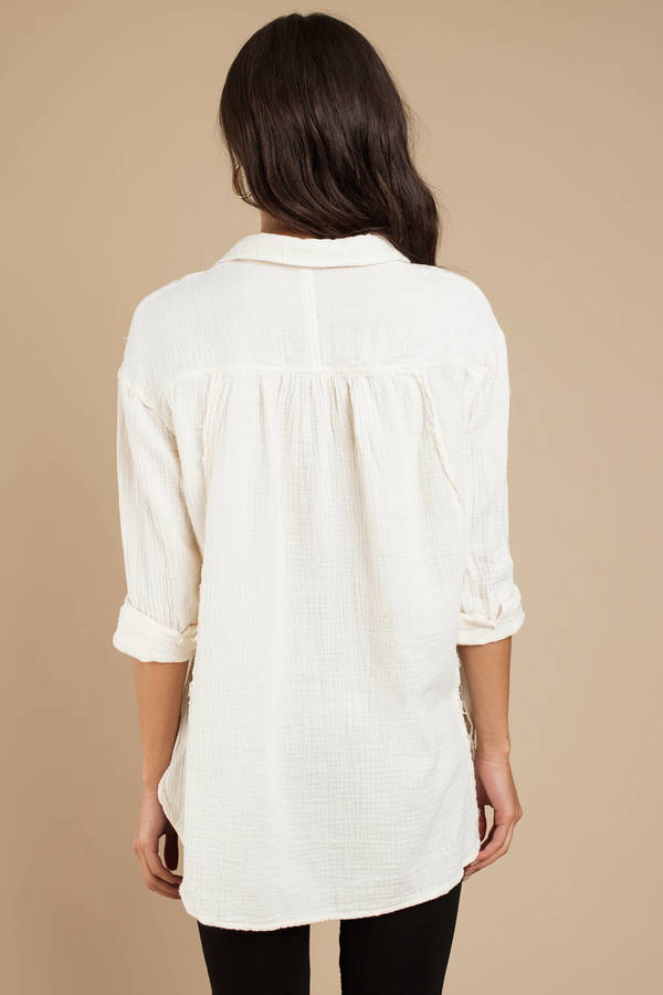 53a9051936e3 ... Free People Free People All About The Feels Ivory Button Down Blouse ...