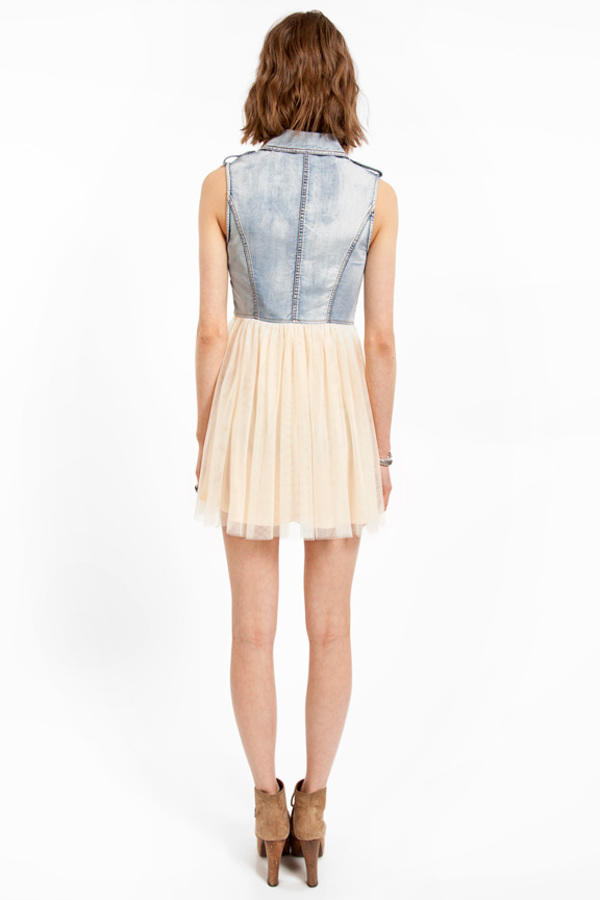 Tori Spells Denim Tulle Dress