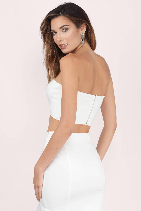 72f18306e56a1e Cute White Crop Top - Strapless Top - White Top - Ivory Crop Top ...
