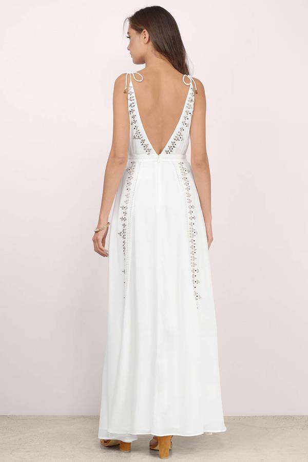 Ivory Maxi Dress - White Dress - Aztec Print Dress - $134 | Tobi US