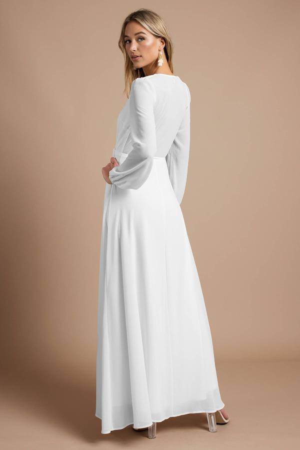 bddc7d3c Pretty White Maxi Dress - Long Sleeve Dress - Elegant White Maxi ...