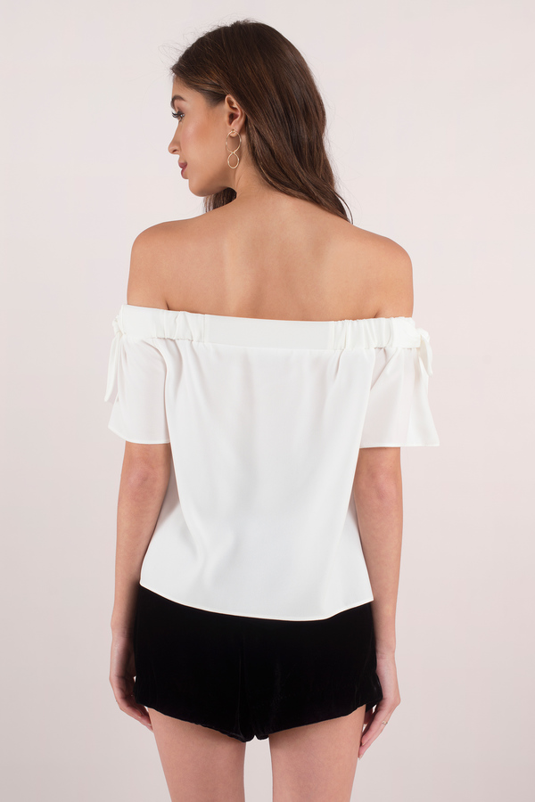 6a861618eeb83b White Going Out Top - Off Shoulder Top - Basic Top - AU  13