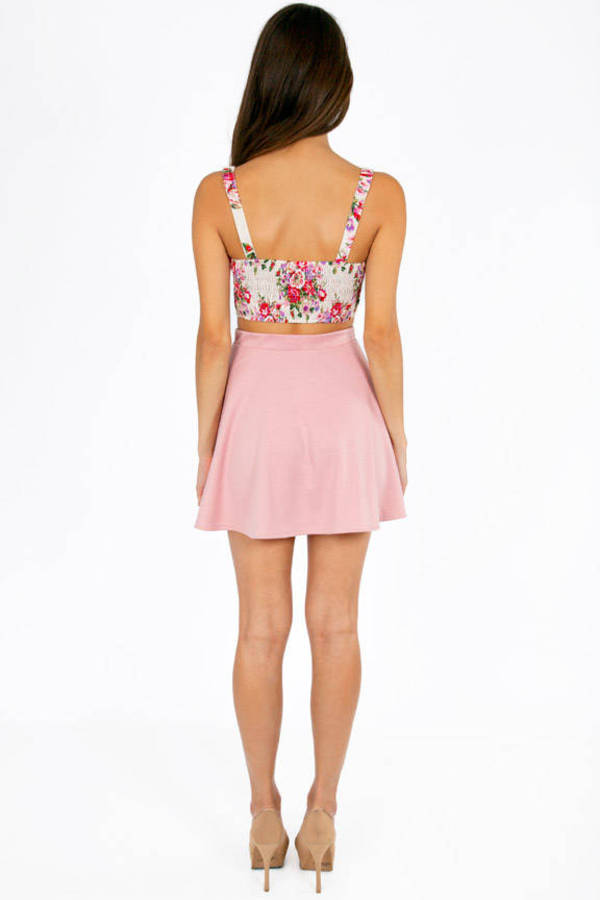 Mira Button Floral Crop Top