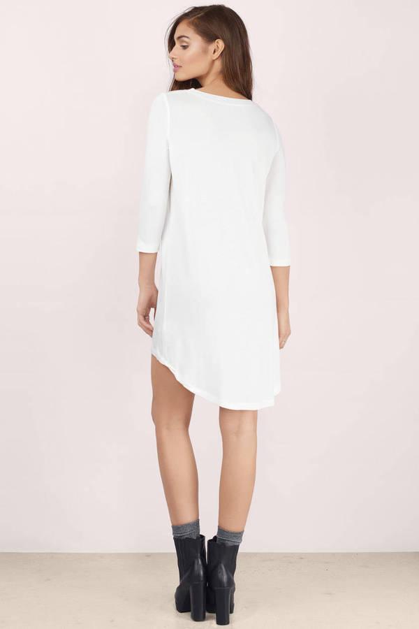 Tunic Dress - Long Sleeve Dress - White Dress - Aqua High Low ...