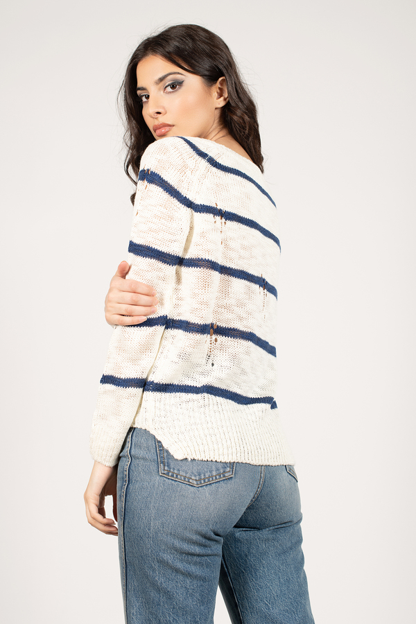 Ivory & Navy Sweater - Boat Neck Sweater - White Striped Sweater ...
