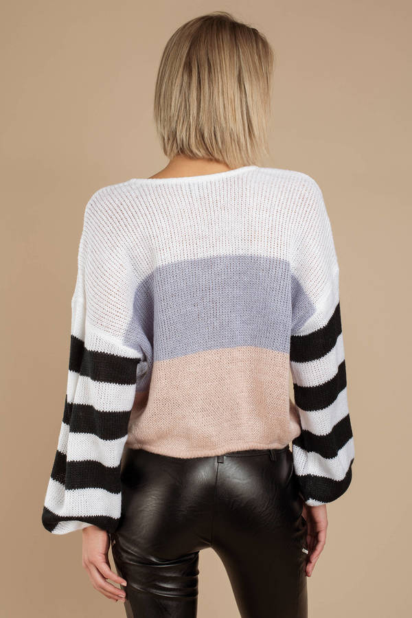 White Sweater - Slouchy Sweater - White Colorblocked ...