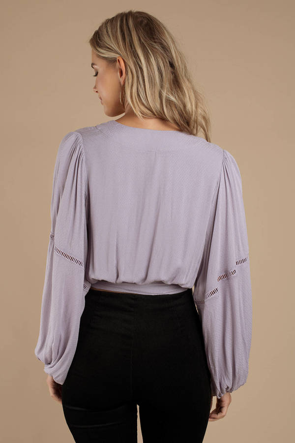 Free People Dream Girl Wrap Top Lavender Large