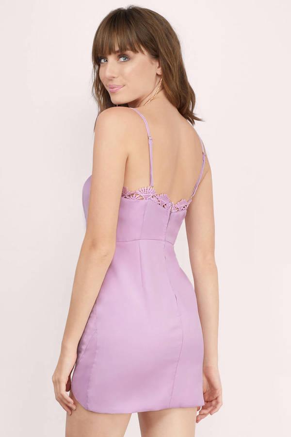 7b5865b635e4 Lavender Dress - Lace Trim Dress - Lavender Tank Dress - Bodycon ...