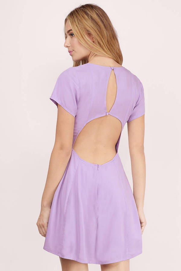 Trendy Lavender Skater Dress - Cut Out Dress - $12.00