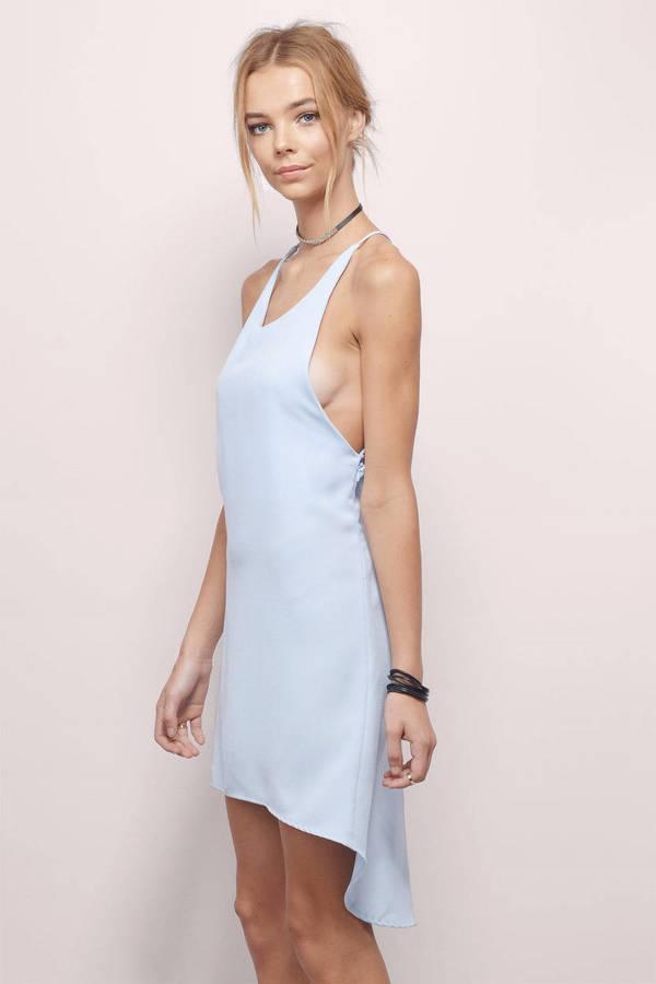 Light Blue Shift Dress - Blue Dress - High Low Dress ...