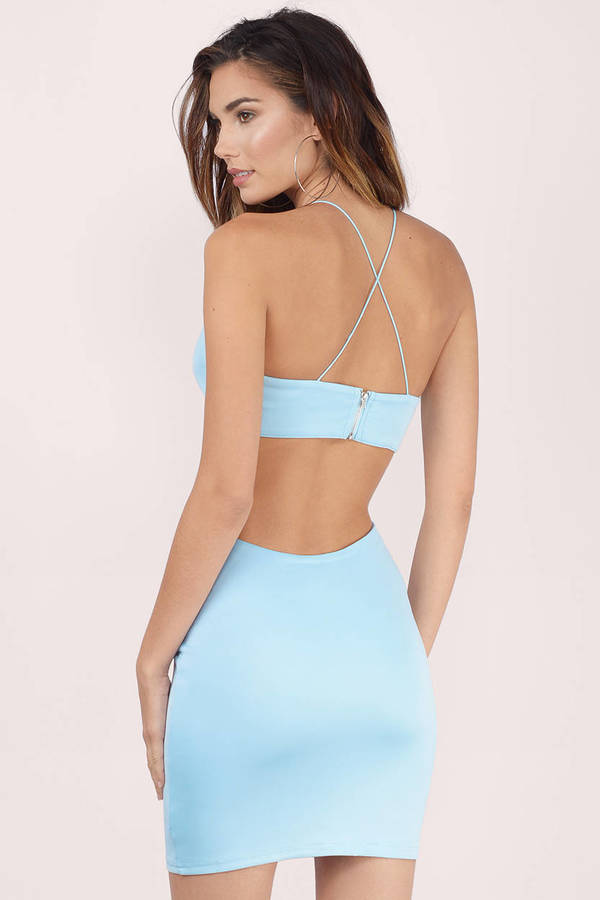 Sexy Light Blue Bodycon Dress - Cut Out Dress - Bodycon Dress - $60