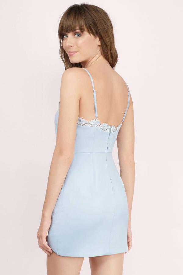 Light Blue Dress Lace Trim Dress Light Blue Tank Dress