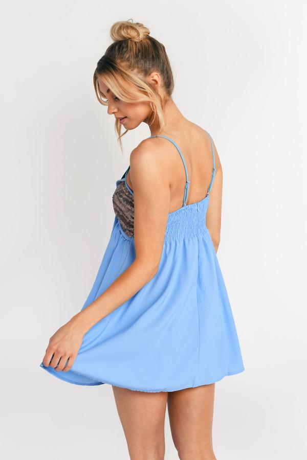 Light Blue Dress - Sequin Dress - Sequin Trapeze Dress - Shift Dress ...