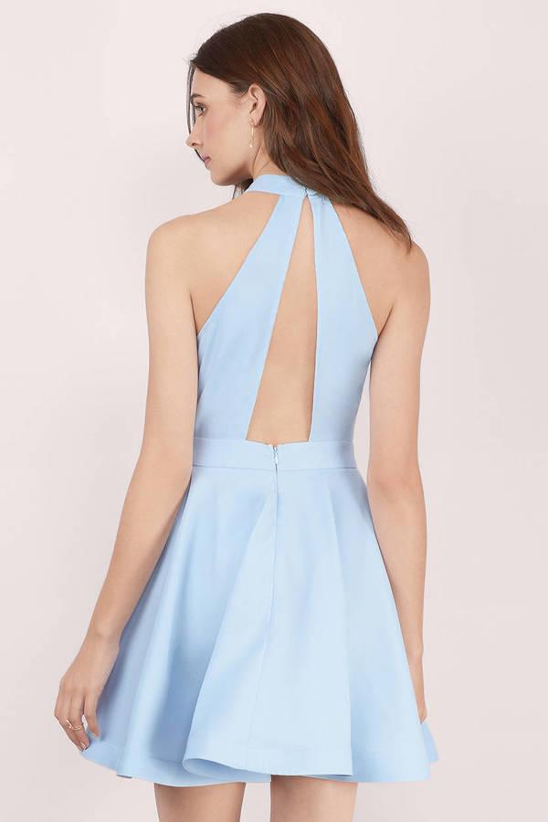 92e3c5d6c0c Cute Light Blue Skater Dress - Mock Neck Dress - Skater Dress -  13 ...