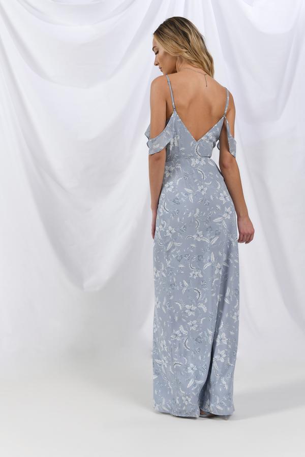 Right Time Light Blue Multi Floral Wrap Maxi Dress by Tobi