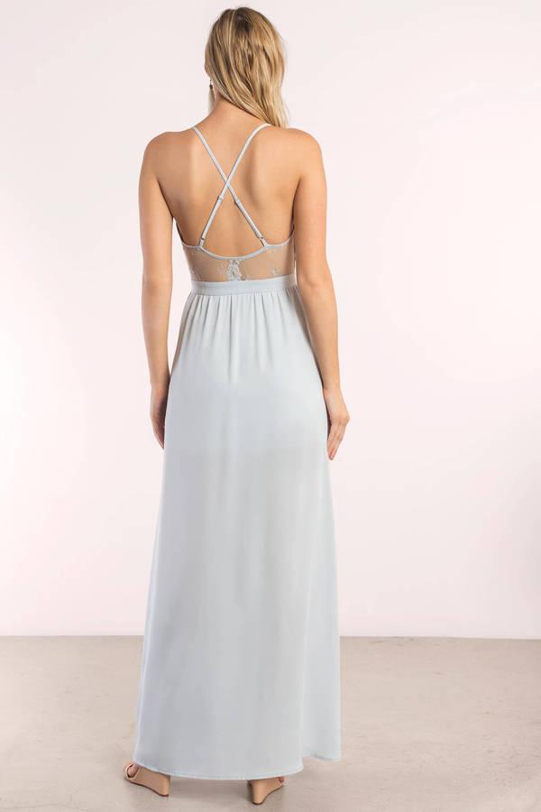 3072691cdb92 Sexy Light Blue Maxi Dress - Lace Dress - Light Blue Dress - Peach ...