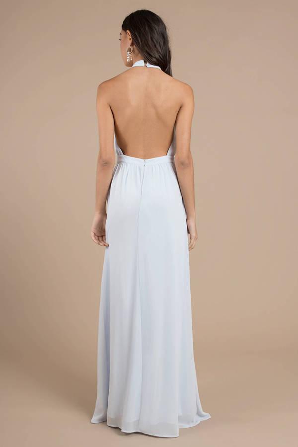 fe8fe1b1b620f Tara Light Blue Halter Maxi Dress - $38 | Tobi US