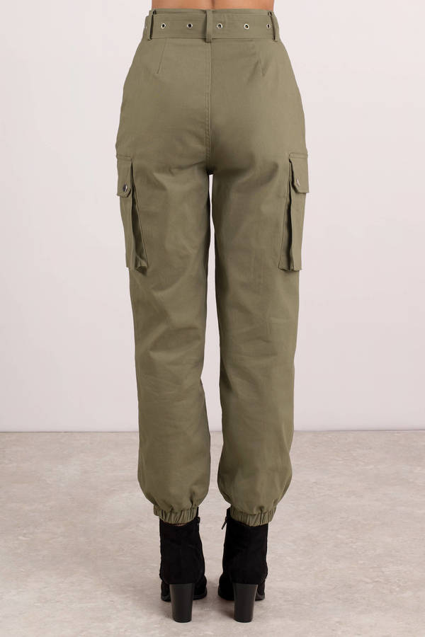 Green Pants Cropped Pants Green Belted Cargo Pants