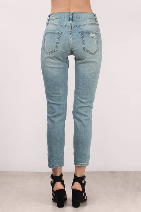 Trendy Light Wash Denim - Cropped Denim - Blue Denim - $35.00