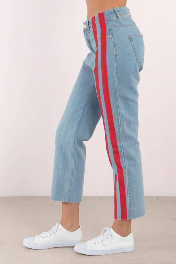 Stripe Down Light Wash Denim Pants 49 Tobi Us