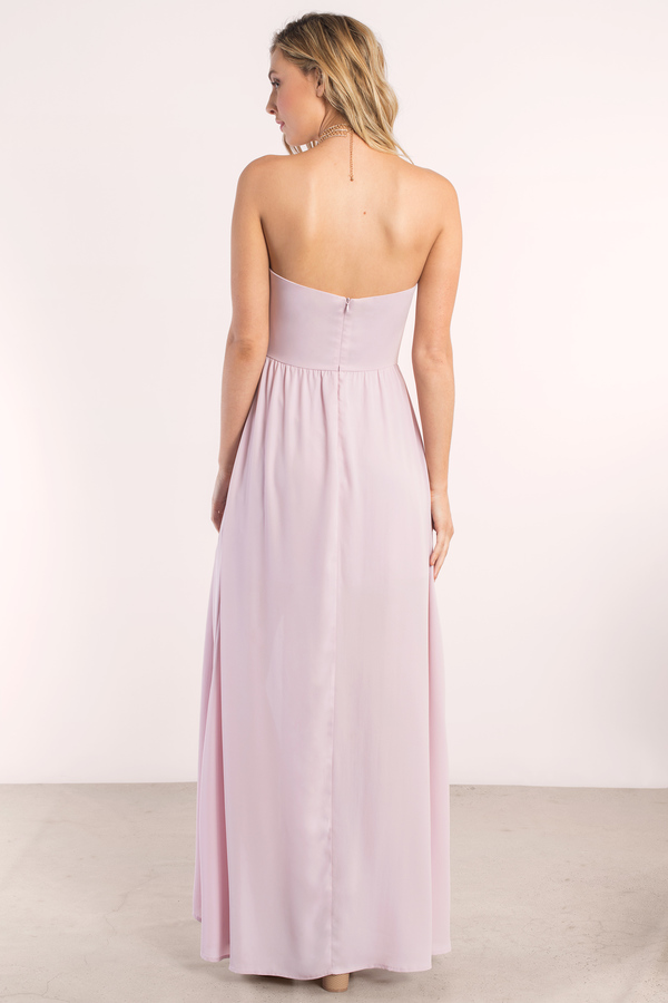 Lovely Lilac Maxi Dress - Strapless Dress - $70.00