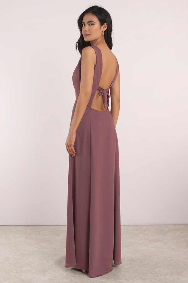 Cute Marsala Dress Back Tie Dress Front Slit Dress