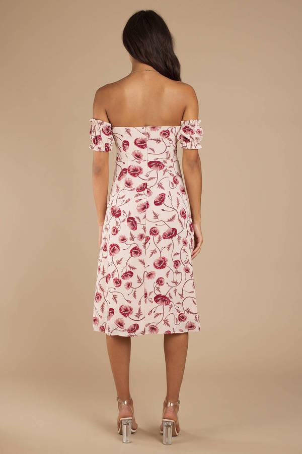 3750958895e7 Mauve Midi Dress - Off Shoulder Front Tie Dress - Mauve Floral Dress ...