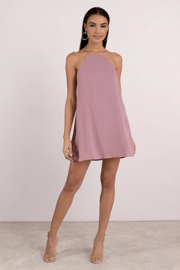 dbf304b29db8 Trendy Purple Shift Dress - Strappy Swing Dress - Purple Lace Up ...
