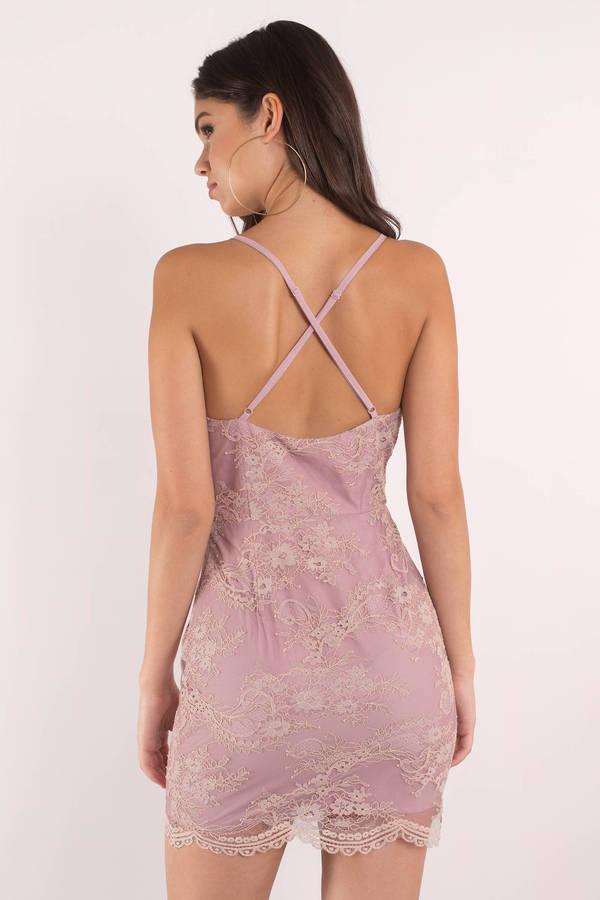 d2f45b00e3f Cute Dress - V Neck Dress - Cross Back - Mauve Bodycon Dress -  21 ...