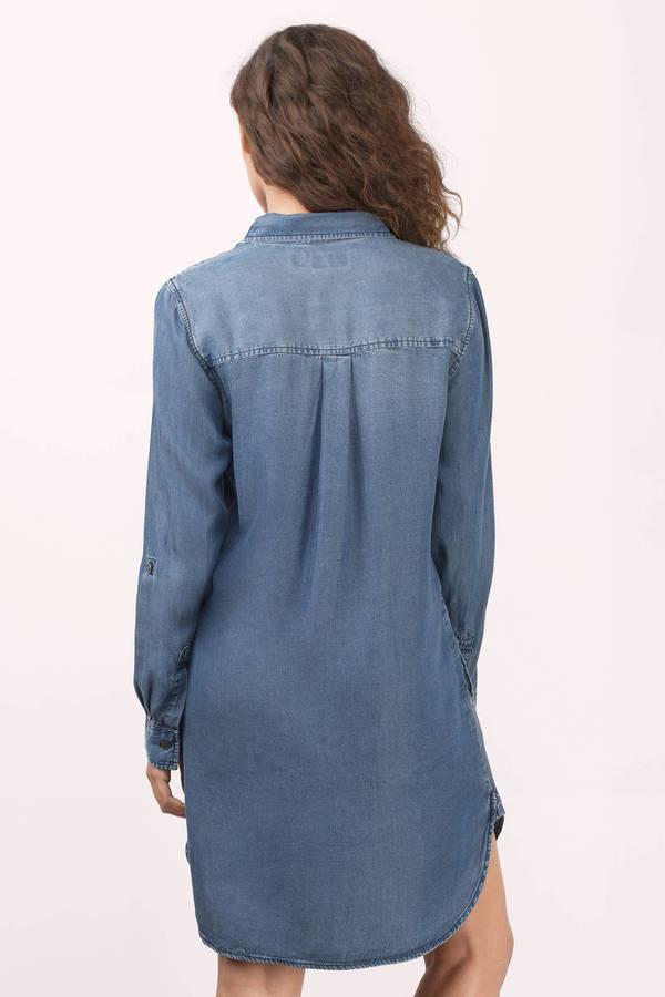 ff33304dec Olive Dress - Denim Dress With Sleeves - Shift Dress -  26