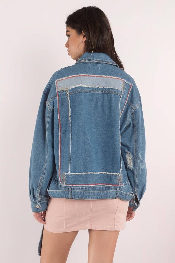 Essue Denim Jacket Medium Wash Jacket Moto Jacket Zip Up